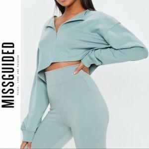 Missguided Front Zip Cropped Sweatshirt 🖤